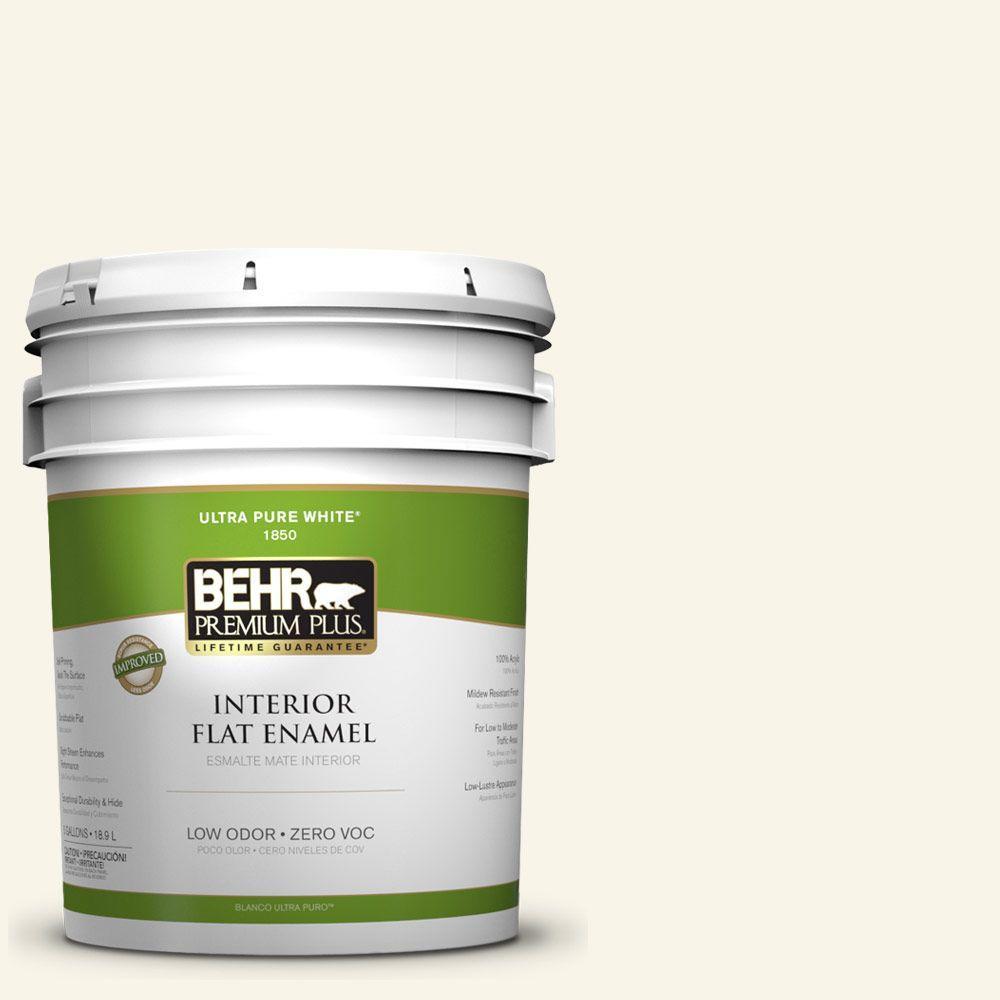 BEHR Premium Plus 5-gal. #PWN-11 Calla Lily Zero VOC Flat Enamel Interior Paint-DISCONTINUED