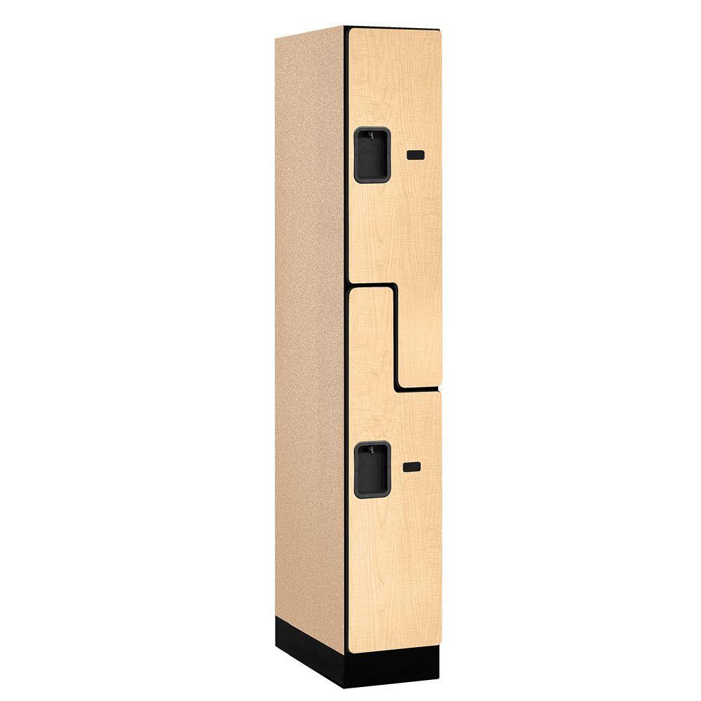 37000 Series 12 in. W x 76 in. H x 21 in. D 2-Tier S-Style Designer Wood Locker in Maple