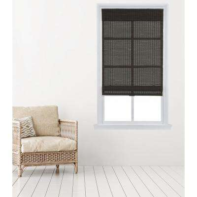 Dark Gray Cordless Carbonized Bamboo Roman Shade 35 in. W x 64 in. L