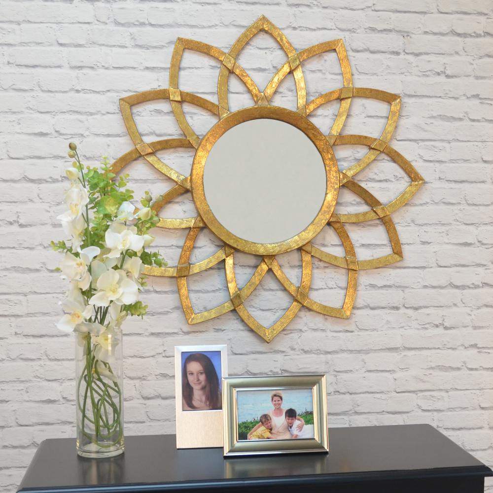 Eleanor Round Antique Gold Decorative Wall Mirror