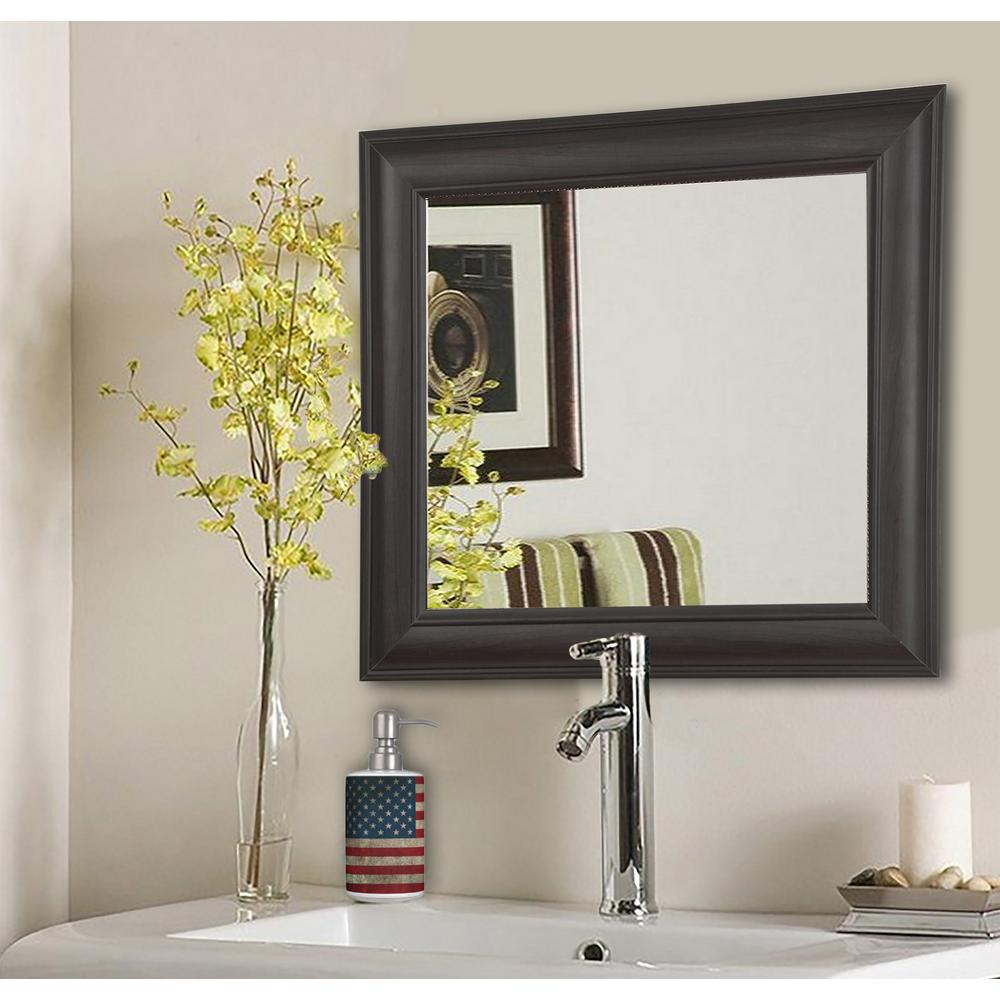 Brazilian Walnut Square Decorative Wall Mirrors Set Of