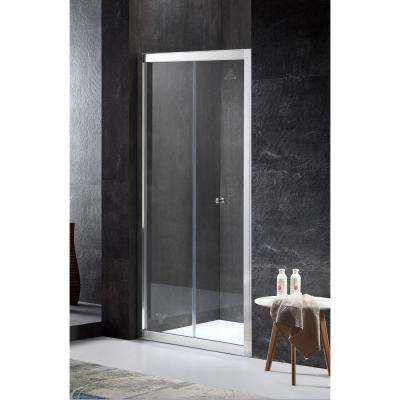 Rampart Series Reversible Side 35.43 in. x 71.65 in. Framed Hinged Bi-Fold Shower Door in Chrome with Handle
