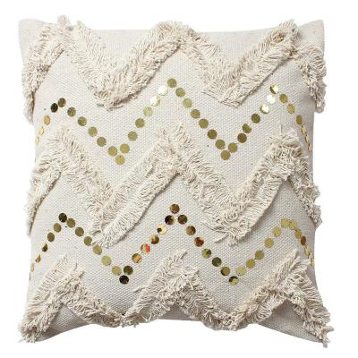 Beige Cotton with Fringe and Sequin Chevron Details 18 in. L x 18 in. W Throw Pillow