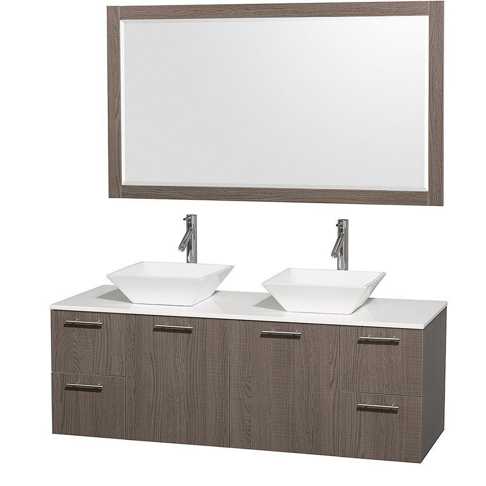 Paris 60-Inch Espresso Double-Sink Bathroom Vanity With Mirrors kokols peliel 60 in. double vanity in espresso with stone vanity