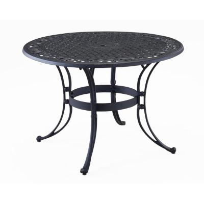Sanibel Black 48 in. Round Cast Aluminum Outdoor Dining Table