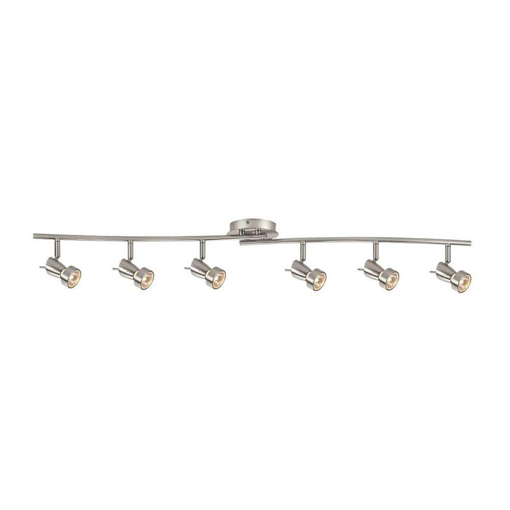 Hampton Bay 6 Light Brushed Nickel Ceiling Wall Dual Wave Bar Fixture