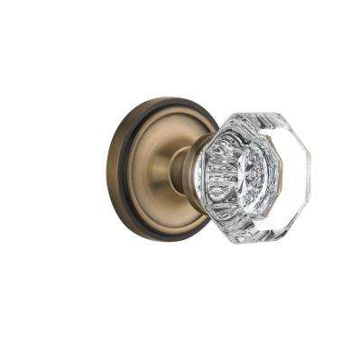 Classic Rosette 2-3/4 in. Backset Antique Brass Passage Hall/Closet Waldorf Door Knob