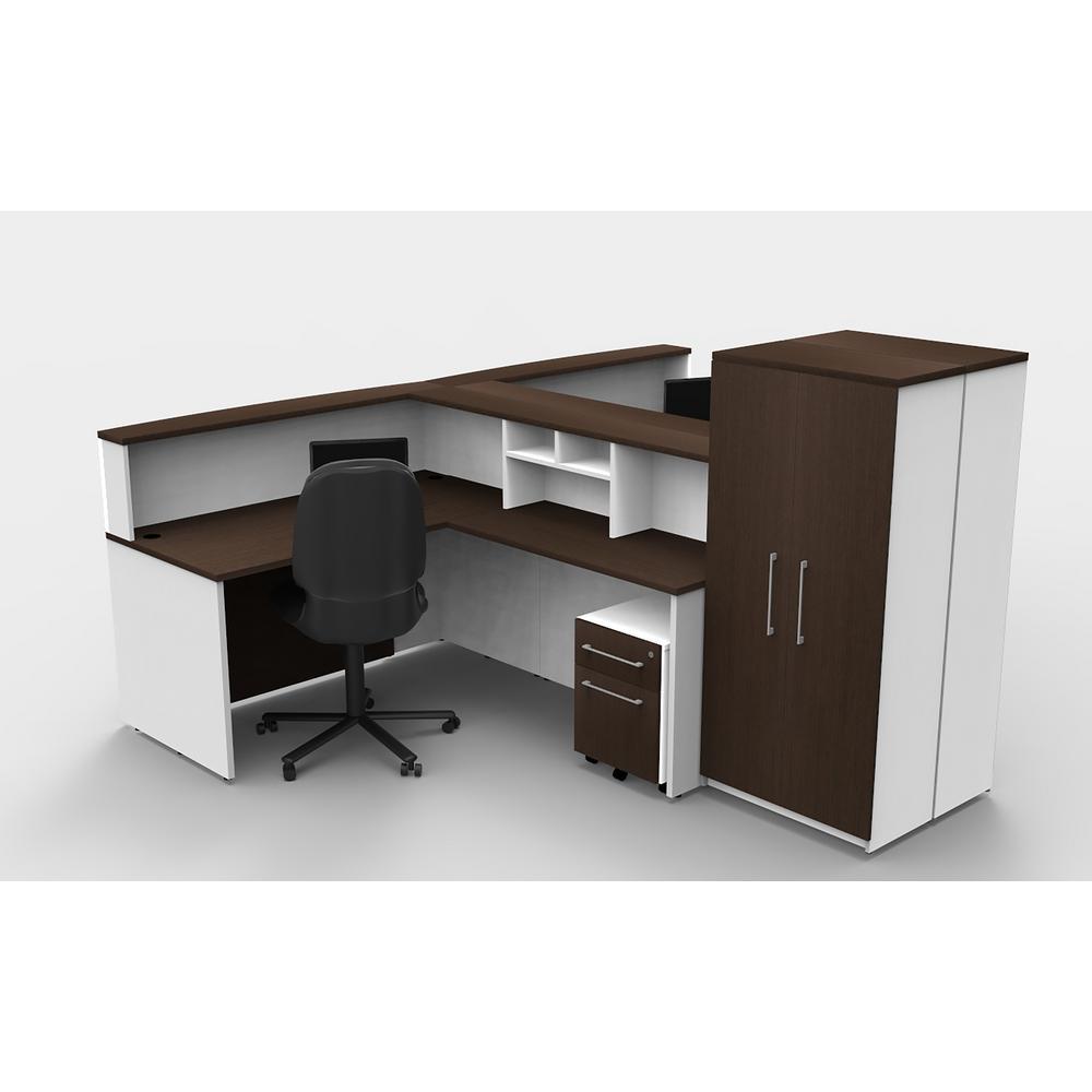 Gentil OfisLITE 12 Piece White/Espresso Office Reception Desk Collaboration Center