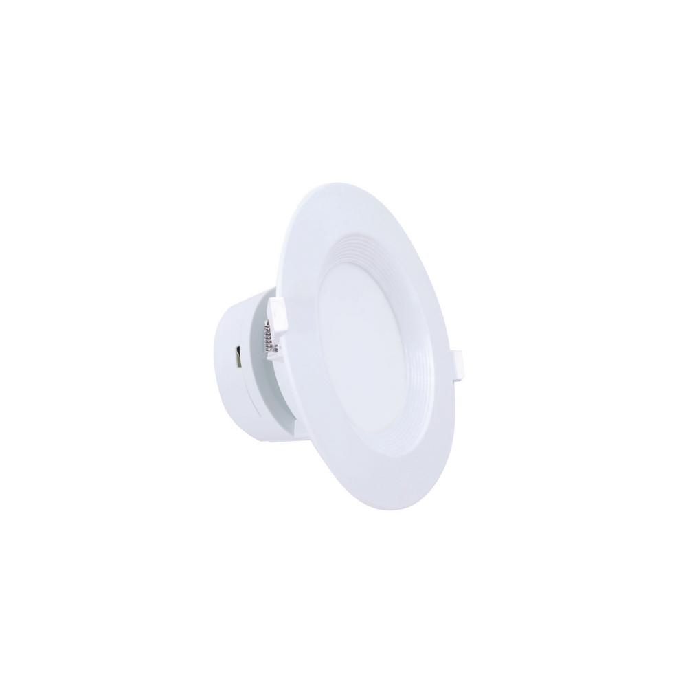 EarthTronics IC Rated Down Light 4 in. 3000K Architectural White Housing Integrated LED Flush Mount (6 per Case)