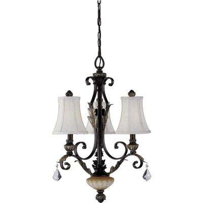 Andalusia 3-Light Vintage Bronze with Gold Highlights Interior Chandelier