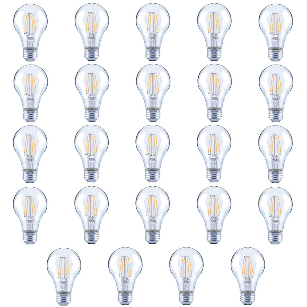 60-Watt Equivalent A19 Clear Glass Filament Dimmable LED Light Bulb Soft