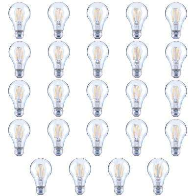 60-Watt Equivalent A19 Clear Glass Vintage Decorative Edison Filament Dimmable LED Light Bulb Soft White (24-Pack)