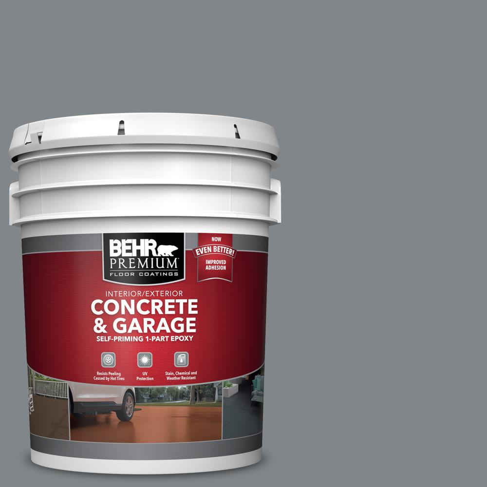 BEHR PREMIUM 5 gal. #N500-5 Magnetic Gray color Self-Priming 1-Part Epoxy Satin Interior/Exterior Concrete and Garage Floor Paint