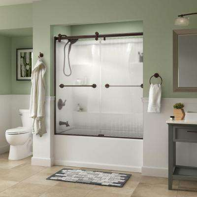 Phoebe 60 in. x 58-3/4 in. Semi-Frameless Contemporary Sliding Bathtub Door in Bronze with Droplet Glass