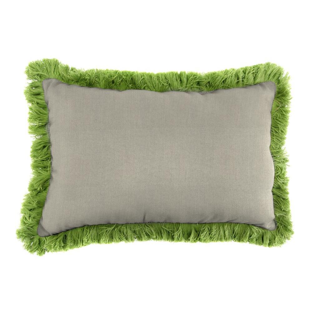 Sunbrella 9 in. x 22 in. Spectrum Dove Lumbar Outdoor Pillow with Gingko Fringe