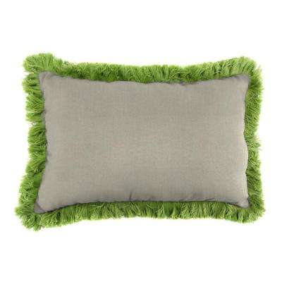 Sunbrella 9 in. x 22 in. Spectrum Dove Lumbar Outdoor Pillow with Gingko Fringe