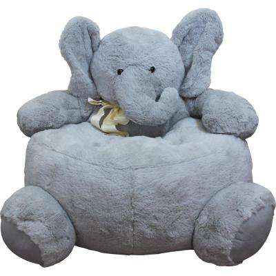 Gray Plush Kids Elephant Chair