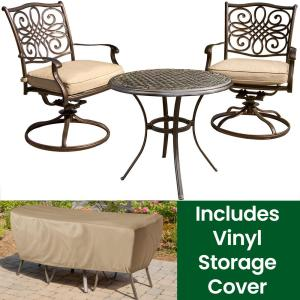 Traditions 3-Piece Aluminum Round Outdoor Bistro Set with Swivel Rockers, Cover and Natural Oat Cushions included