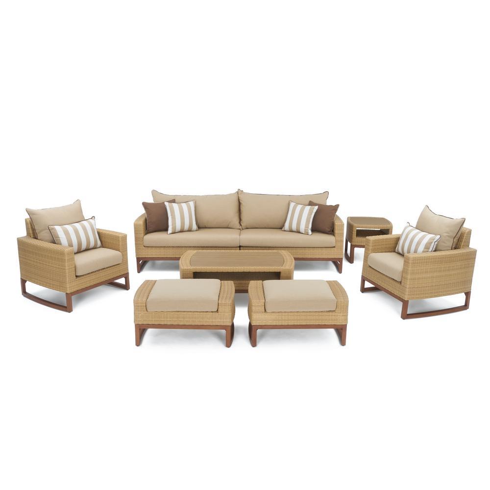 Mili 8-Piece Wicker Patio Deep Seating Conversation Set with Sunbrella Maximum Beige Cushions
