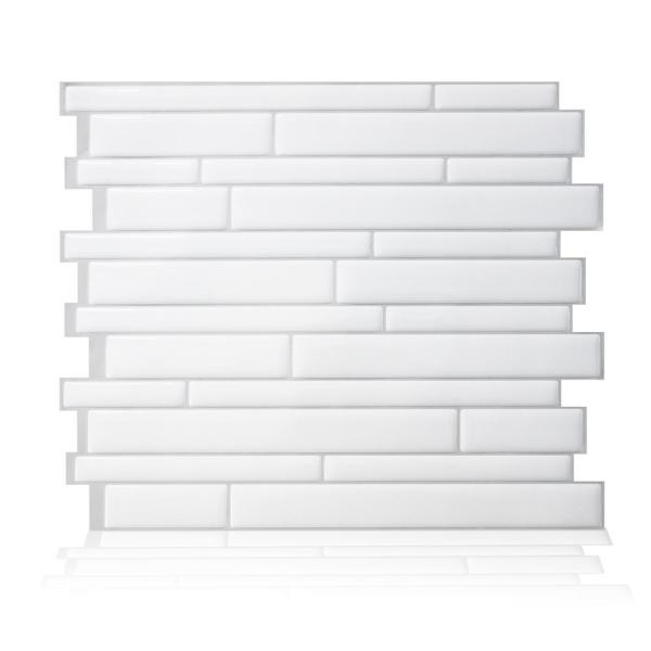 Smart Tiles Milano Blanco 11.55 in. W x 9.63 in. H White and Gray Peel and Stick Self-Adhesive Mosaic Wall Tile Backsplash (4-Pack)