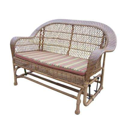 Coventry Natural Wicker Outdoor Glider with Stripe Cushion