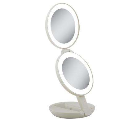 Next Generation LED Lighted Travel Makeup Mirror in Cream