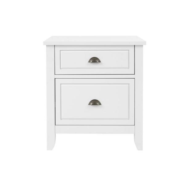 Stylewell Cordale 2 Drawer White Wood Nightstand 24 In W X 26 In H Bf 25631 Wh The Home Depot