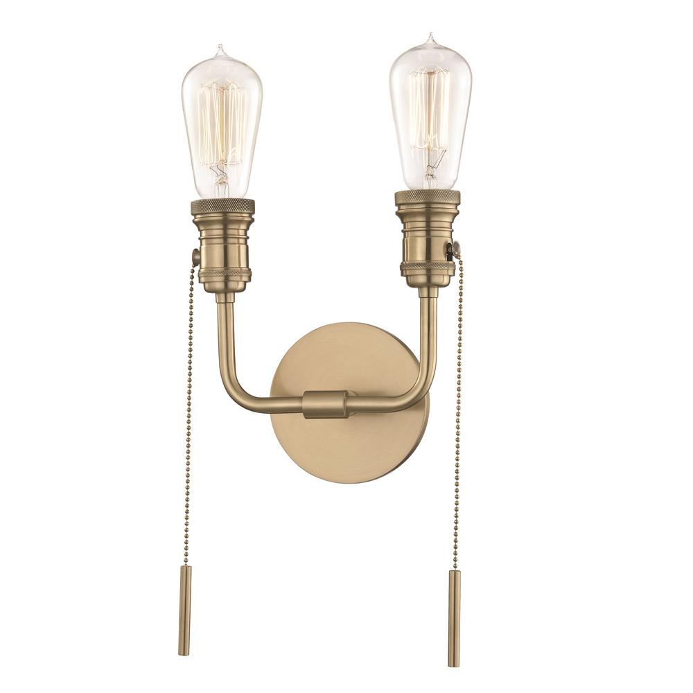 Mitzi By Hudson Valley Lighting Lexi 2 Light Aged Br Wall Sconce