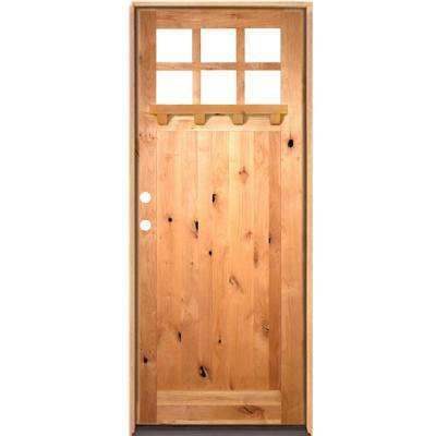 42 in. x 96 in. Craftsman Alder 1 Panel 6-Lite Clear Low-E /Dentil Shelf Right-Hand Unfinished Wood/Prehung Front Door