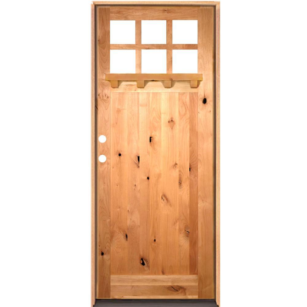 42 in. x 96 in. Craftsman Alder 1 Panel 6-Lite Clear Low-E /Dentil Shelf Right-Hand Unfinished Wood/Prehung Front Door