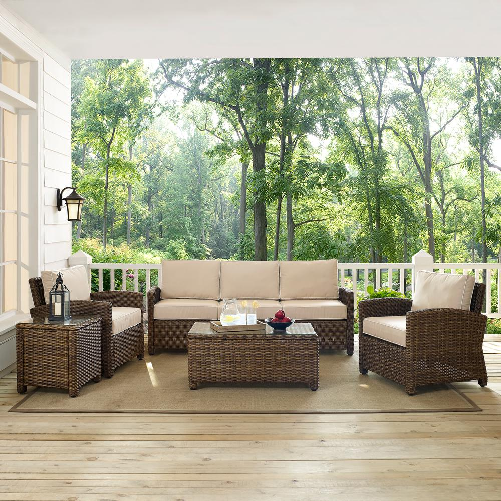Crosley Bradenton 5-Piece Wicker Outdoor Sofa Conversation Set with Sand Cushions