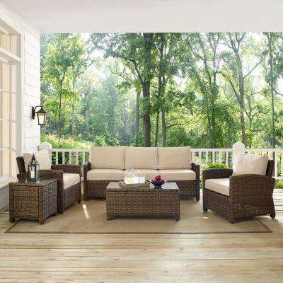 Bradenton 5-Piece Wicker Outdoor Sofa Conversation Set with Sand Cushions