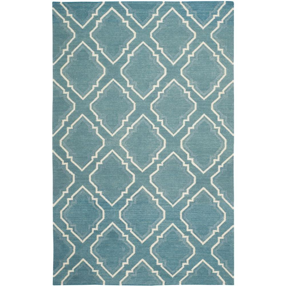 Safavieh Dhurries Blue/Ivory 4 ft. x 6 ft. Area Rug