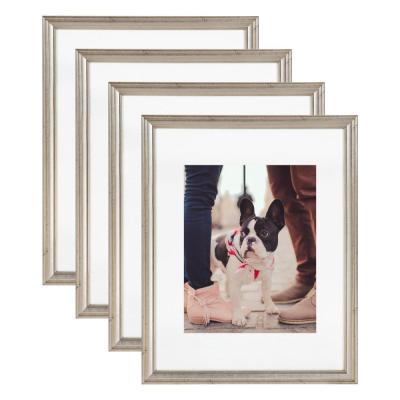 Adlynn 11 in. x 14 in. matted to 8 in. x 10 in. Silver Picture Frames (Set of 4)