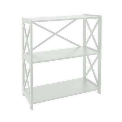 31.5 in. x 11.75 in. x 32.5 in. White Wood 3-Tier Shelf