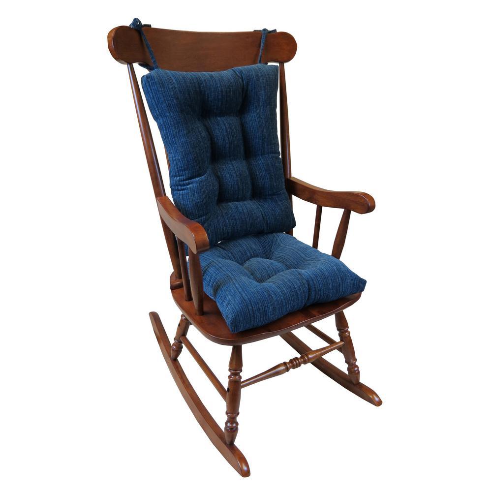 Astounding Gripper Polar Chenille Sapphire Jumbo Rocking Chair Cushion Set Inzonedesignstudio Interior Chair Design Inzonedesignstudiocom