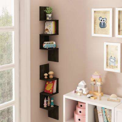 Espresso 3-Shelf Square Floating Corner Shelf (2-Pack)