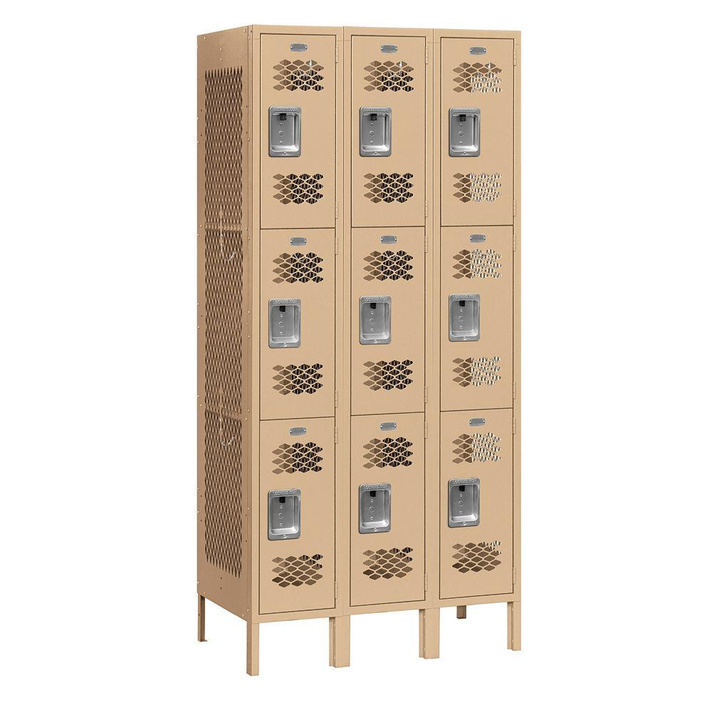Salsbury Industries 73000 Series 36 in. W x 78 in. H x 15 in. D 9-Tier Vented Metal Locker Unassembled in Tan