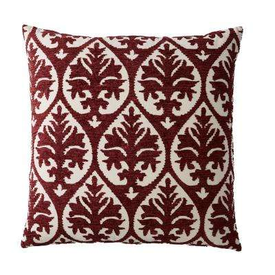 Embroidered Decorative Pillow Cover in Red Damask, 26 in. x 26 in.