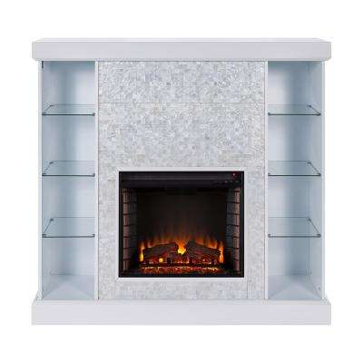 Bekston 55 in. Mosaic Tiled Curio Electric Fireplace in White