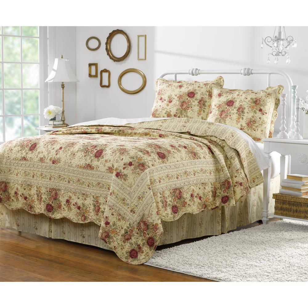 Antique Rose 3-Piece Multi Full and Queen Quilt Set