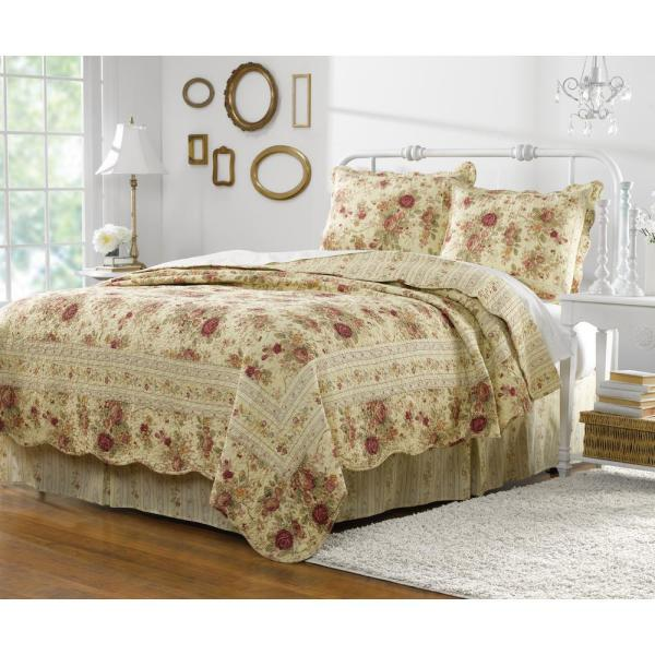 Greenland Home Fashions Antique Rose 3-Piece Multi Full and Queen Quilt
