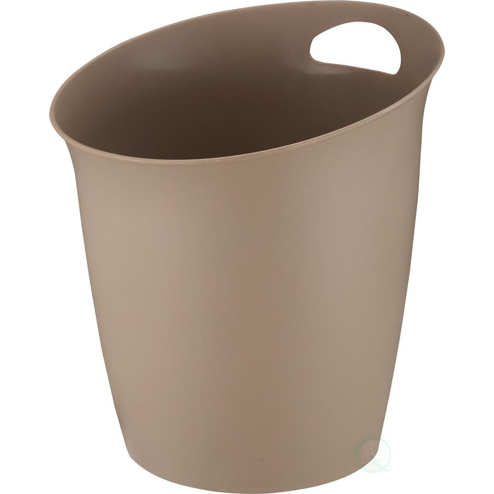 10 in. H x 9.65 in. Dia Small Beige Plastic Wastebasket