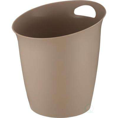 10 in. H x 9.65 in. Dia Small Beige Plastic Wastebasket with Handle
