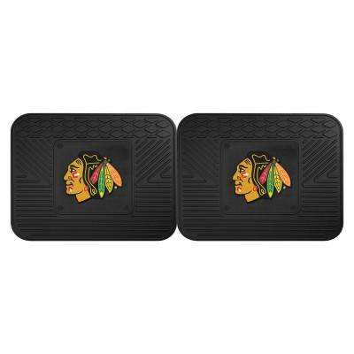 NHL Chicago Blackhawks Black Heavy Duty 14 in. x 17 in. 2-Piece Vinyl Utility Mat