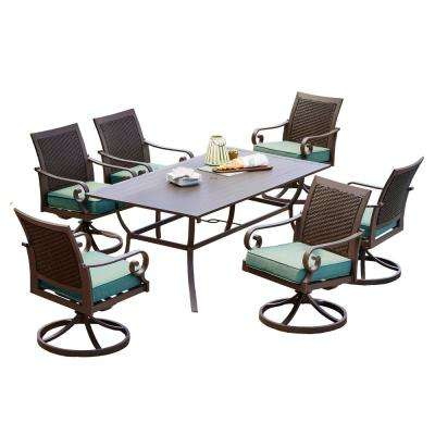 Milano 7-Piece Metal Swivel Outdoor Dining Set with Teal Cushions