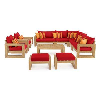 Benson 11-Piece Wood Patio Conversation Set with Sunbrella Sunset Red Cushions