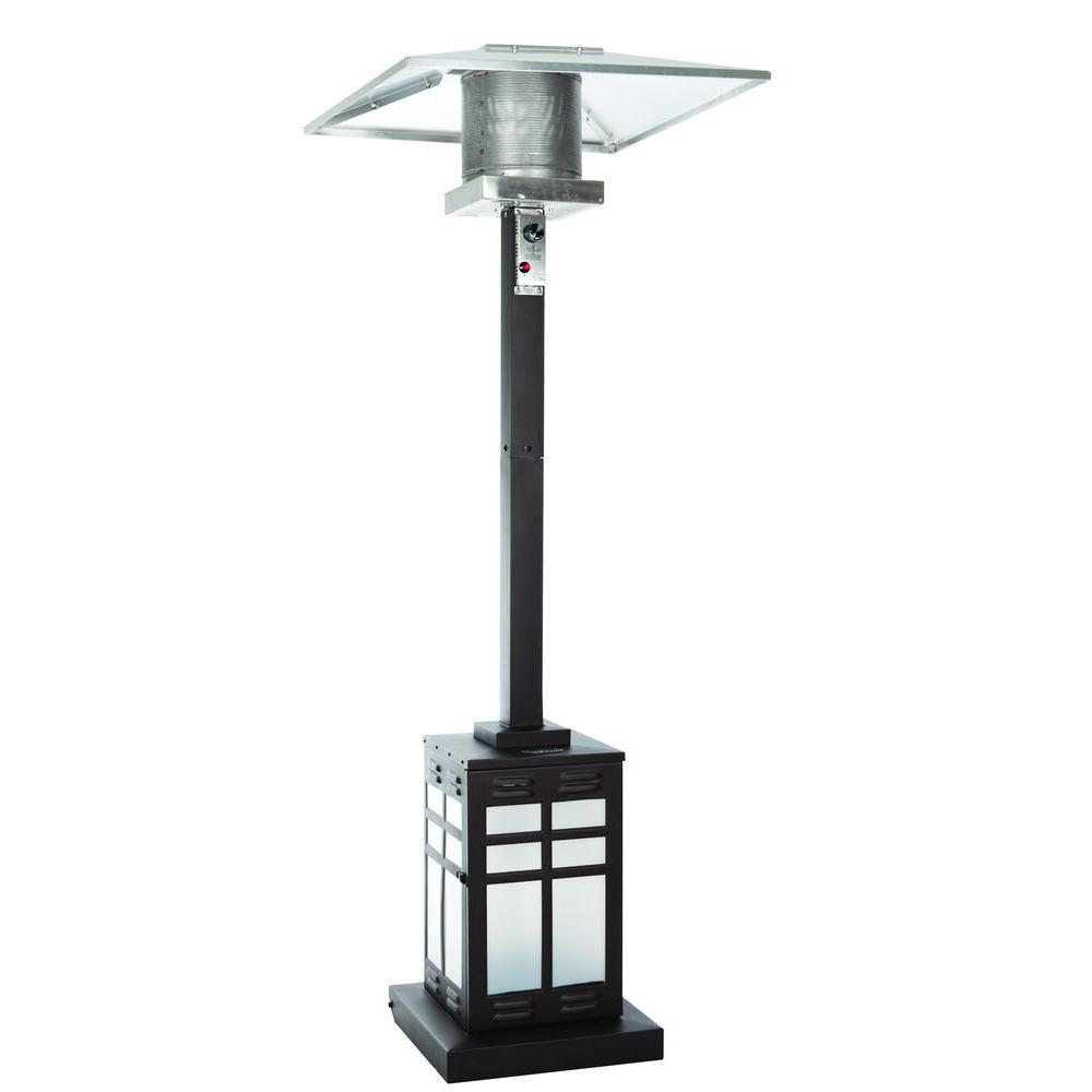 Fire Sense 46,000 BTU Mocha Square Propane Gas Patio Heater with Illuminated Base