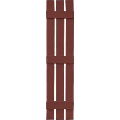 12 in. x 59 in. Board-N-Batten Shutters Pair, 3 Boards Spaced #027 Burgundy Red