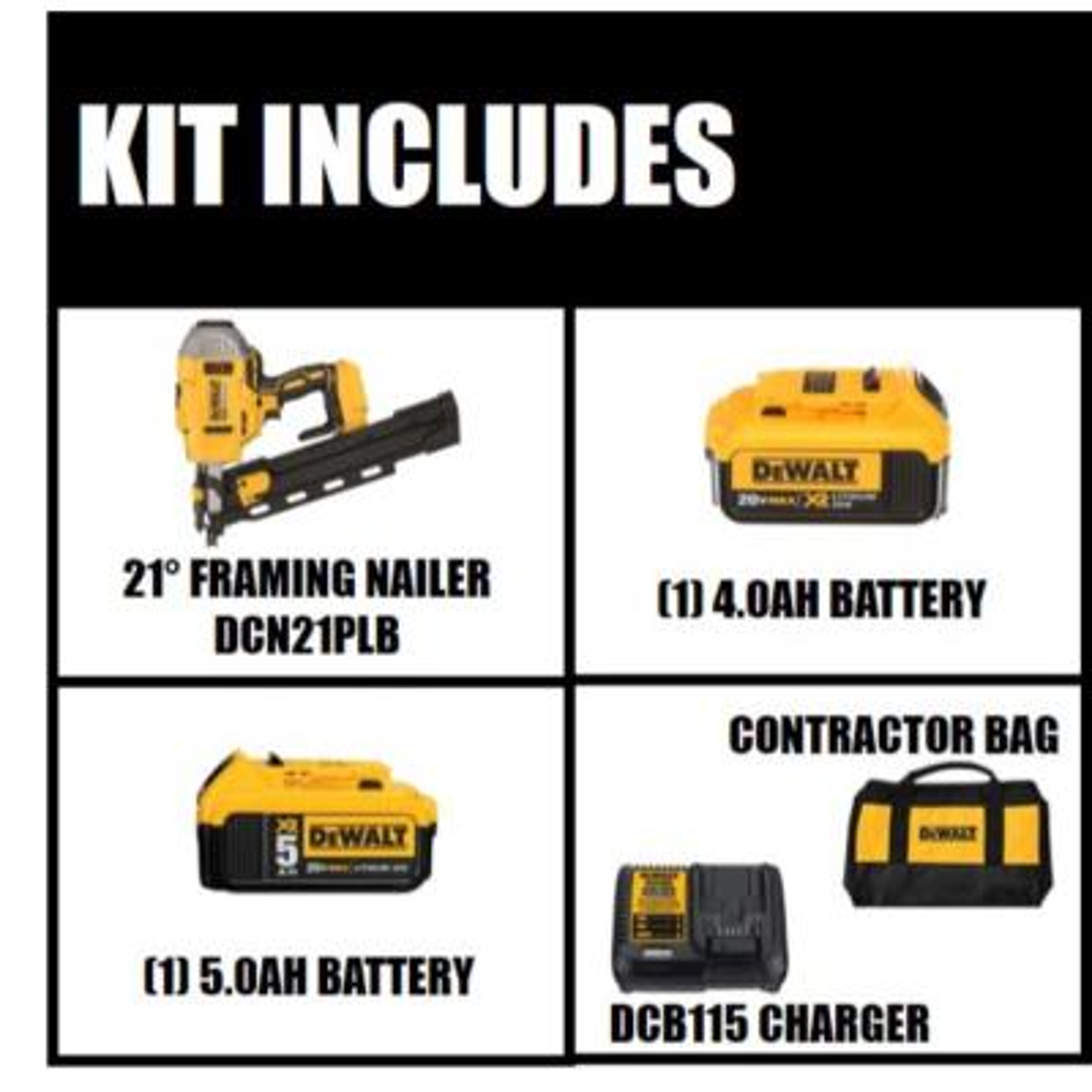 20-Volt MAX XR Lithium-Ion Cordless Brushless 2-Speed 33 Degree Framing Nailer Kit w/ Battery 4Ah and Bonus 5Ah Battery